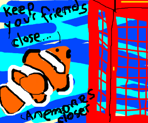 Clown fish saying bad puns to a telephone box