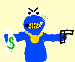 Gangster Cookie Monster Drawing By Seachelm Drawception