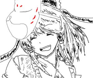 Manga girl is dropping her cap/mask