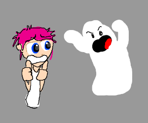 Pink-haired anime girl scared by ghost.
