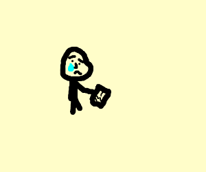 teary eye man is upset his unfunctioning iPhon