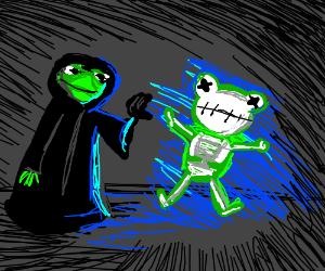 Darth Kermit electrocutes Kermit