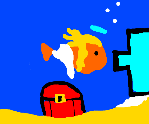 Christian Gold Fish with Glowing Blonde Hair