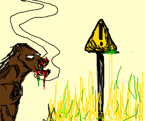 Horse eats acid-hay