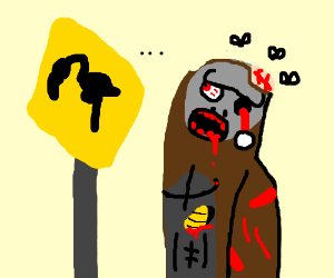 Zombie Bigfoot staring at flaming caution sign