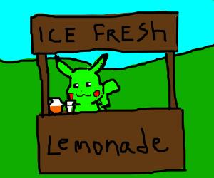 Green Pikachu sets up a lemonade stand.