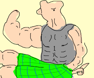 buff pig man with green and blue plaid shorts drawing by deleted