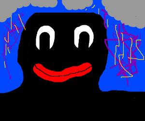 Black person smiling with purple lighting