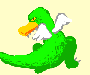 A dinosaur with a duck beak and wings