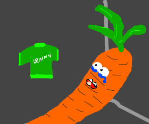 A crying carrot named Lenny, green shirt