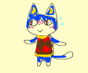 A blushing Rover from Animal Crossing