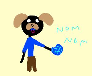 Dog Man Eats Blue Waffle