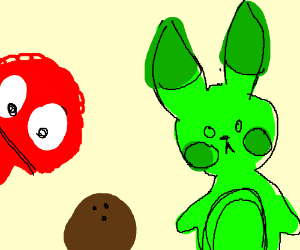 Green Pikachu And Elmo Looking At Coconut