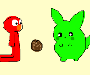 Red Man And Green Pikachu Stares At Coconut