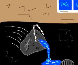 spilling water bucket