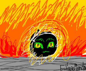 A eclipse monster on sunset