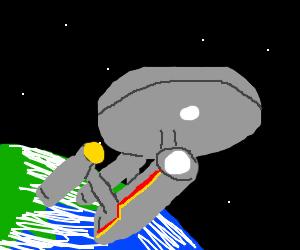 Star Trek Enterprise leaves the earth!