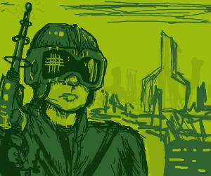 Futuristic Warrior with Laser Gun