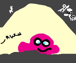 finding a weird pink blob in a cave