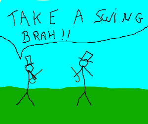 Two people with top hats fighting with canes