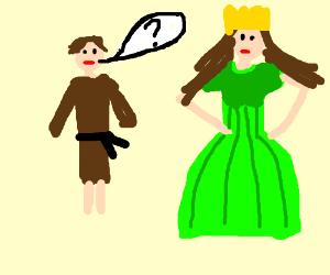 Peasants question queen in green