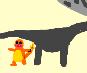 charmander, fat brachiosaurus sanic under moon