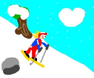 skiing down a snowey mountain