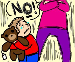 Kid wants teddy bear but evil mom says no