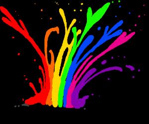 Rainbow bursting into liquid