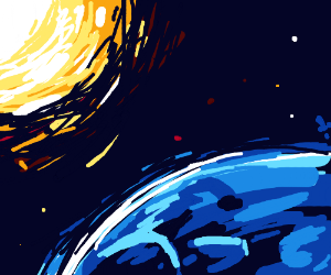 Sun and a blue planet