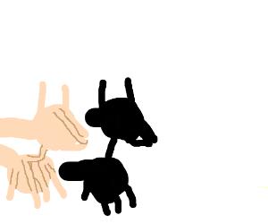 a shadow puppet llama