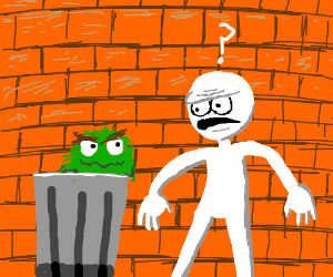 man confused by oscar the grouch