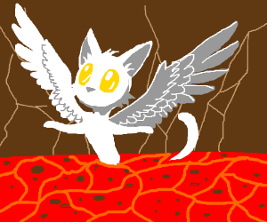 Angel cat in lava