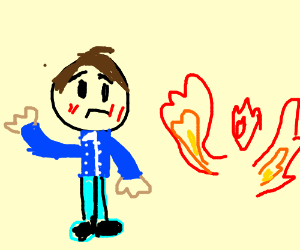 Man with blu jacket stares at a floating flame