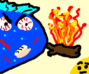 Blue man stares at fire