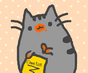 Pusheen Eating Cheetos