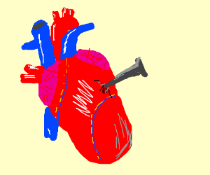 A (Real) heart with metal stuck in it.