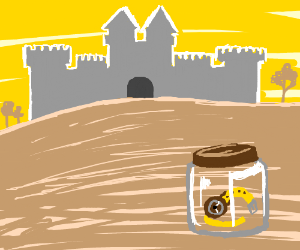 clock in a jar with a castle in the background
