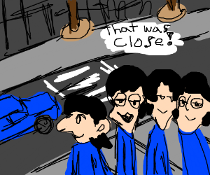 the beatles nearly got run over by a car