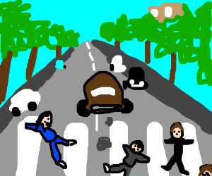 the beatles almost got run over by blue car
