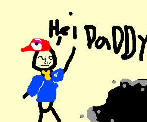 "kid says ""Hi Dad!"" to an oil well"