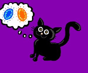 Black kitten is thinking with portals!