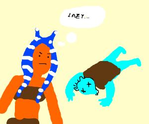 Togruta tells dead Greedo to stop loitering.