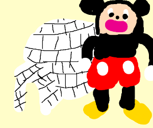 mickey mouses head in front of an iglo
