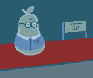Middle aged business pear waits at terminal 22