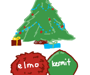 Elmo and Kermit spend X-mas together.
