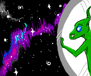 Alien enjoys galactic view in space