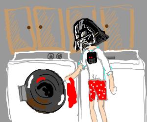 Darth Vader doing chores