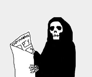 Death reads an Obituary