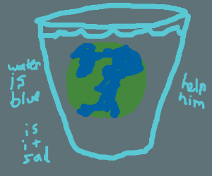 earth in a glass of water